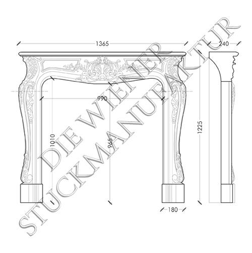 Kamin 1225/1365/240mm Barock