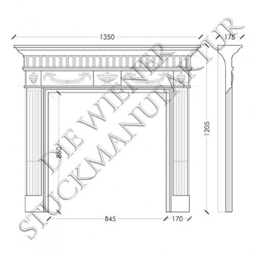 Kamin 1205/1350/175mm Jug.St.