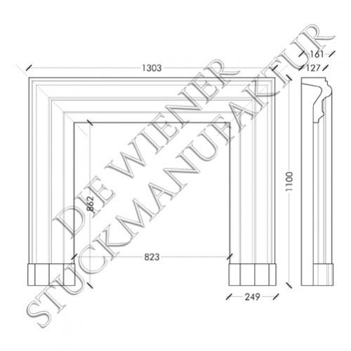 Kamin 1100/1303/127mm glatt
