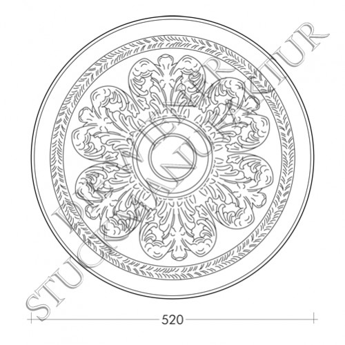 Rosette 520mm Akanthus Lorbeere