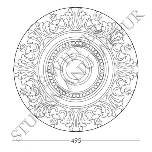 Rosette 495mm Perlen Akanthus
