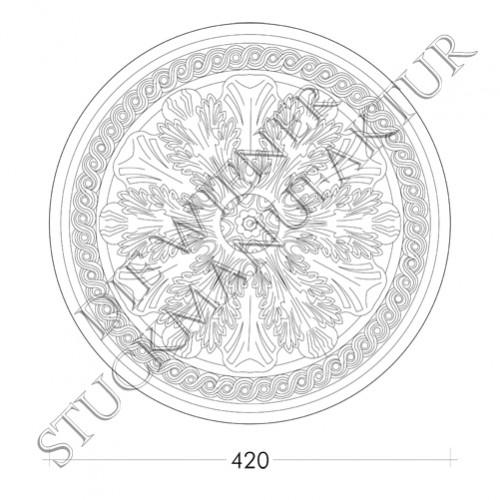 Rosette 420mm Akanthus Flechtw.