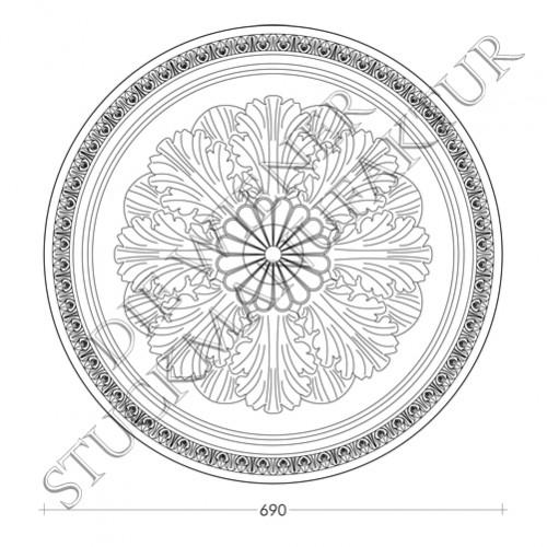Rosette 690mm Akanthus